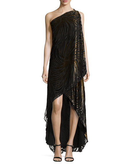 Halston Heritage One-Shoulder Velvet Draped Gown