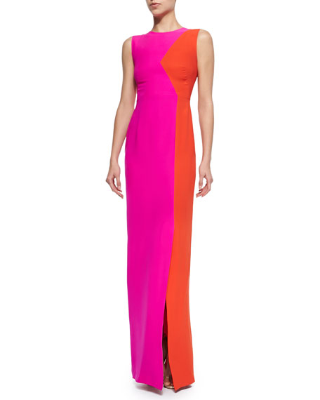 Bonnie Two-Tone Gown, Pink/Horizon Red