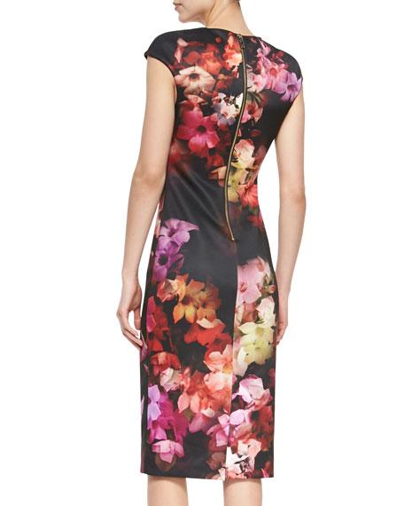 Cascading Floral Cap-Sleeve Sheath Dress