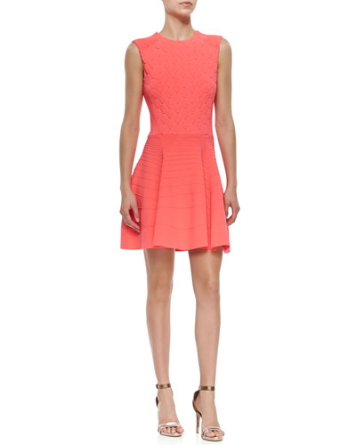 Textured Fit-and-Flare Sleeveless Dress