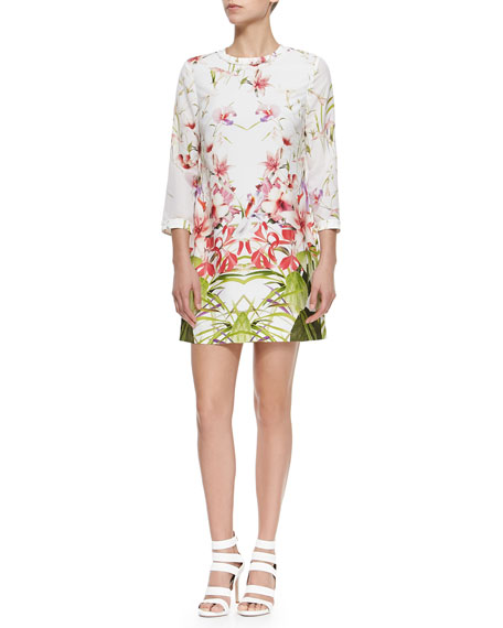 Mirrored Tropics Printed Shift Dress