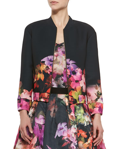 Cascading Floral Front-Zip Jacket