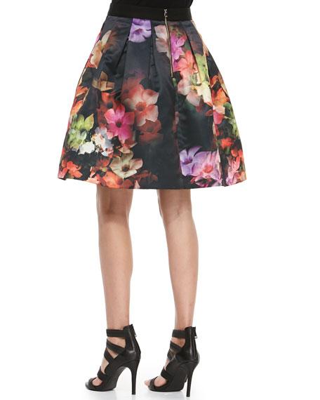 Cascading Floral Pleated Full Skirt