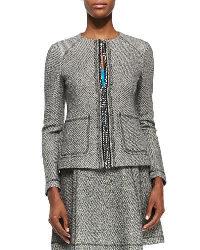 Take-A-Journey Tweed Jacket W/ Chain Placket