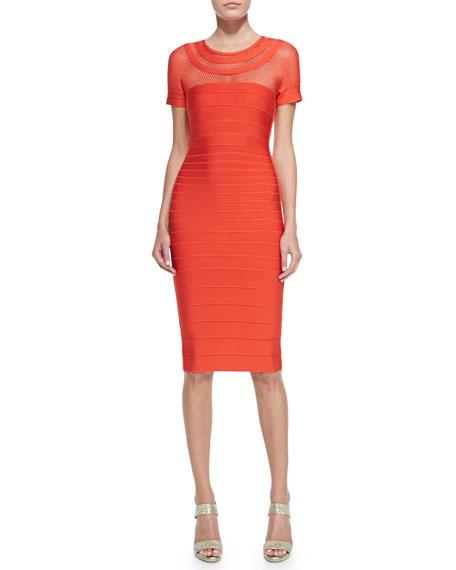 Tania Mesh-Insert Mid-Length Sheath Dress