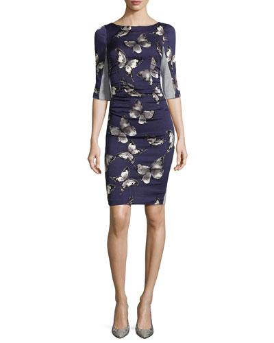 T Elbow-Sleeve Dress W/ Butterfly Print