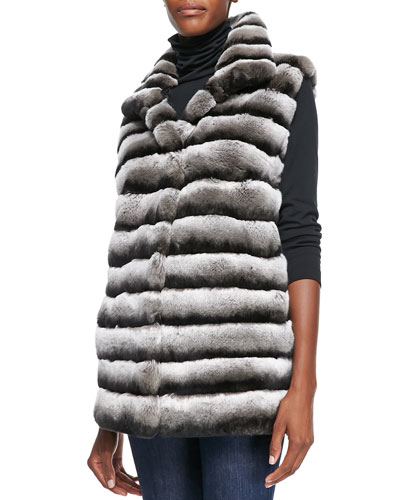 Layered Rex Rabbit Vest, Dark