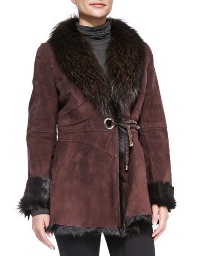Goatskin Jacket with Fur Trim