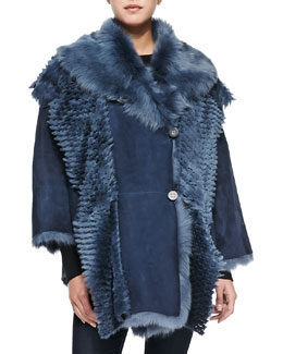 Shearling Lamb Button-Front Cape