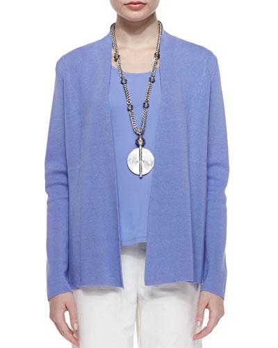 Silk Cotton Interlock Jacket, Plume