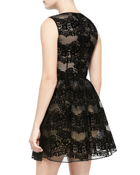 Sleeveless Flocked Lace Dress