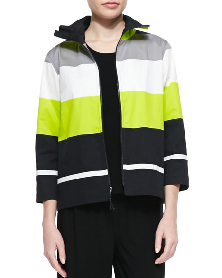 Caroline Rose Limelight Striped Zip Jacket