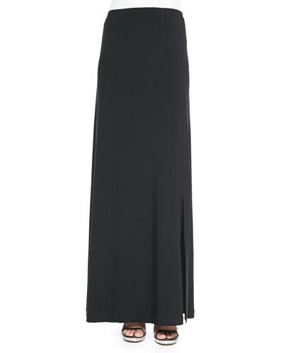 Stretch Knit Maxi Skirt, Black, Women's
