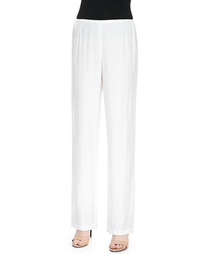 Cabo Knit Straight-Leg Pants, White, Petite