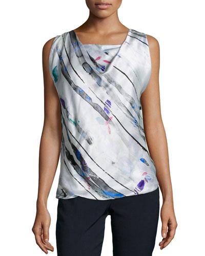 Drape-Front Sleeveless Silk Shell