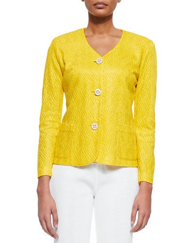 Textured 3-Button Jacket, Tahiti Yellow, Petite