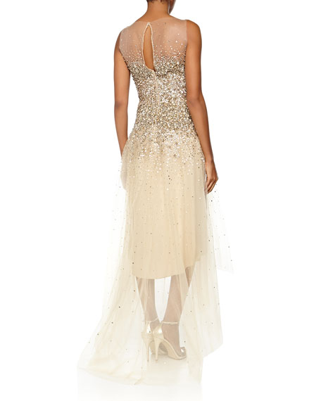 Embellished High-Low Gown, Gold