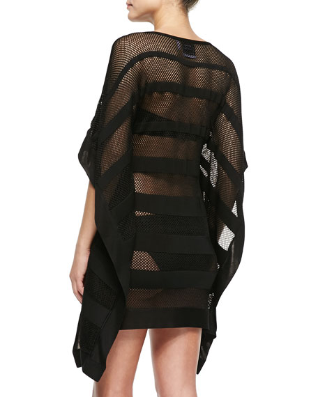 Amiee Striped Netted Swim Coverup
