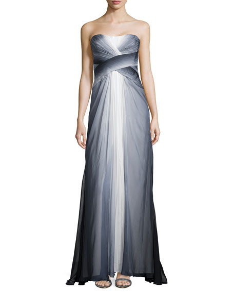 Ombre Chiffon Strapless Gown