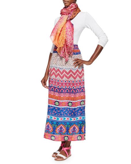 Hazel Printed Silk Long Skirt
