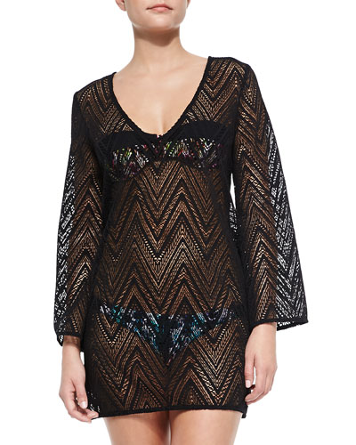 Mykonos V-Neck Crochet Tunic Coverup, Black