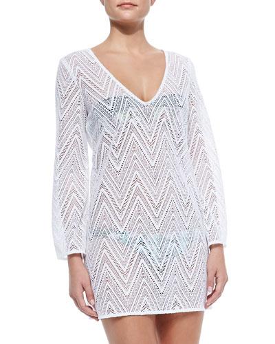 Mykonos V-Neck Crochet Tunic Coverup, White
