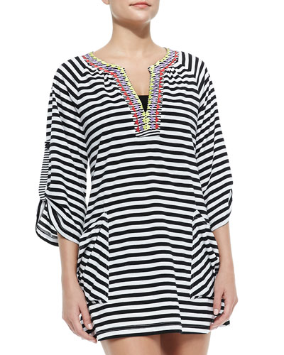 Merengue Striped Contrast-Neck Coverup