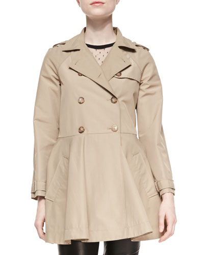 RED Valentino Double-Breasted A-line Skirt Trench Coat