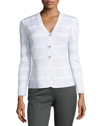 Collarless, Three-Button Jersey Jacket