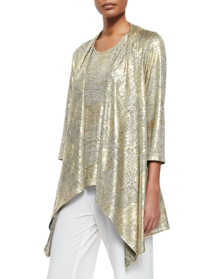 Caroline Rose Luminous Jersey Draped Jacket, Luminous Long