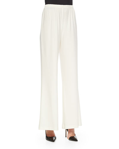 Stretch-Knit Wide-Leg Pants, White, Women's