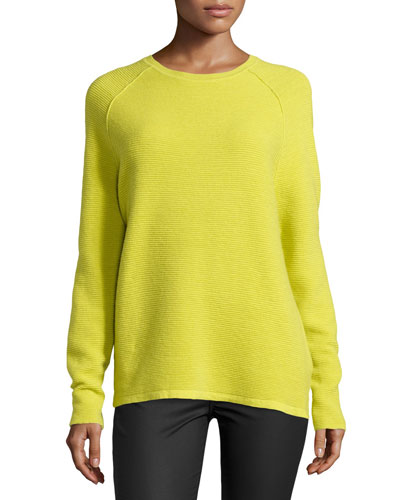 Long-Sleeve Ribbed Jacquard Sweater, Apple Green