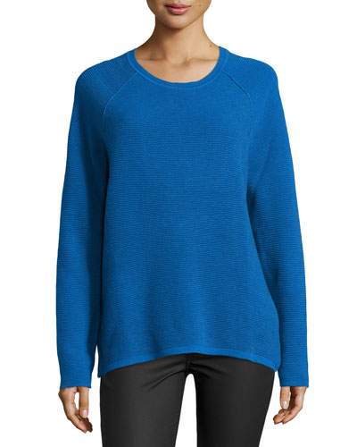 Long-Sleeve Ribbed Jacquard Sweater, Sapphire