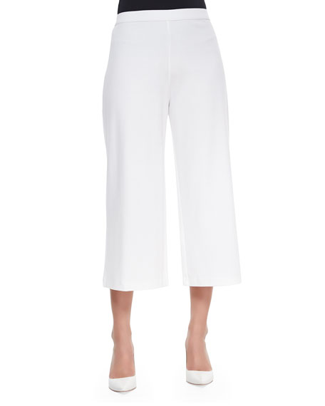Joan Vass Knit Cropped Wide-Leg Pants, White