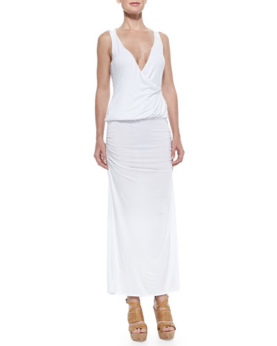 Blouson Crochet-Back Jersey Maxi Dress