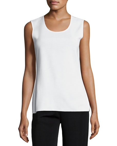 Misook Scoop-Neck Knit Tank, White