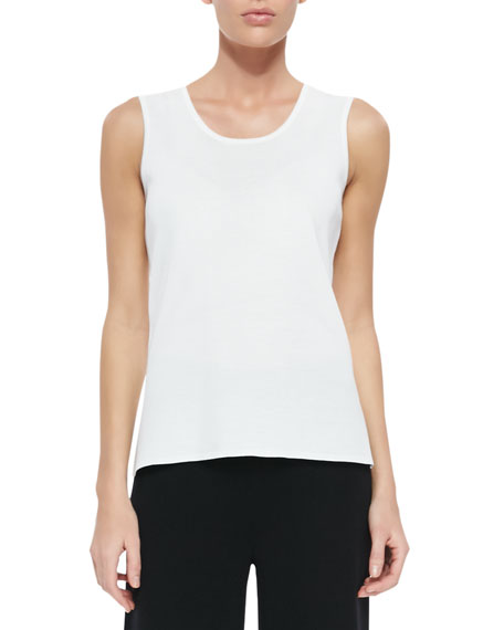 Scoop-Neck Knit Tank, White, Women's