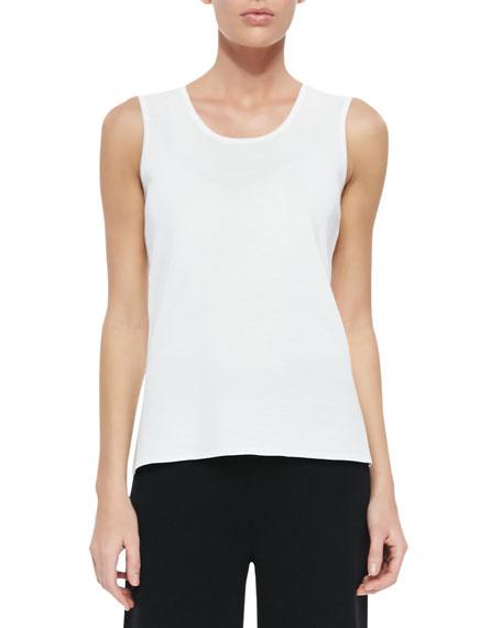 Scoop-Neck Knit Tank, White, Women's