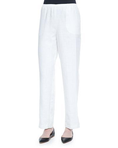 Straight-Leg Lined Linen Pants, White, Women's