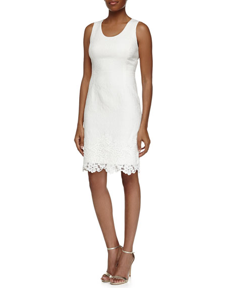 Rebecca Taylor Lace-Overlay Sleeveless Fitted Dress