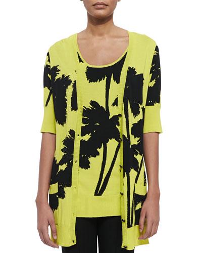 Miami-Print Long 1/2-Sleeve Cardigan, Plus Size