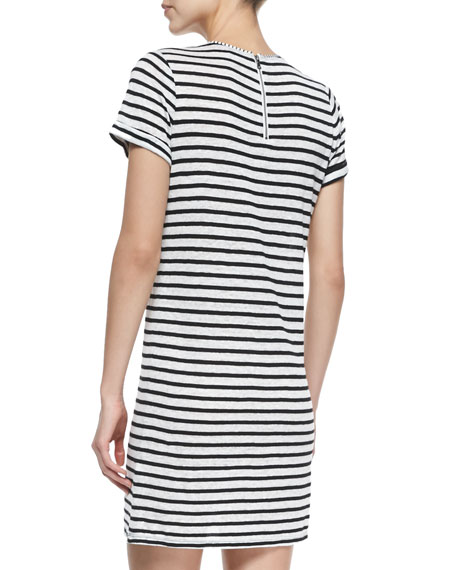 Alice + Olivia Striped Slub Cuff-Sleeve Dress
