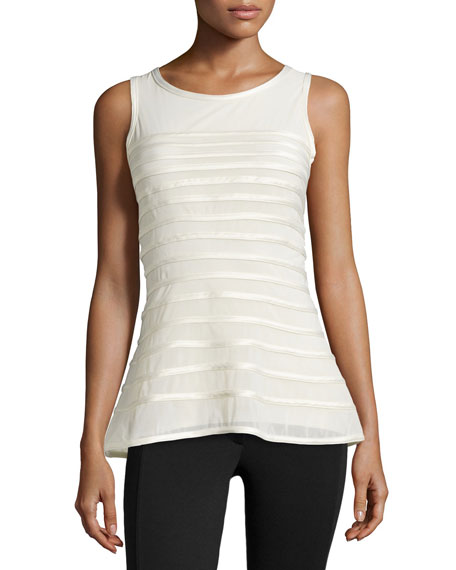 Halston Heritage Charmeuse Striped Tank, Bone