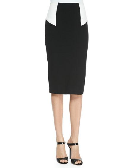 High-Waist Colorblock Pencil Skirt