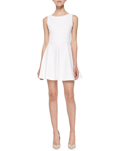 ALICE AND OLIVIA 'Ommi' Textured Leaf Motif Sateen A-Line Dress