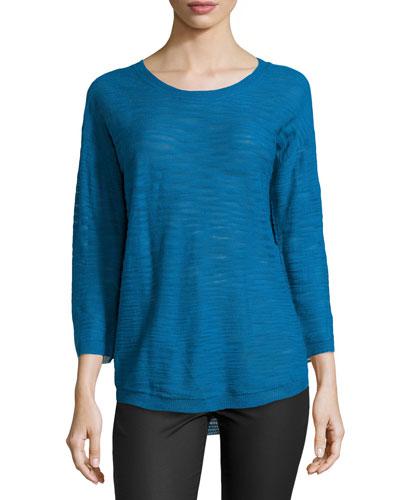 Half-Sleeve Slub Sweater, Sapphire