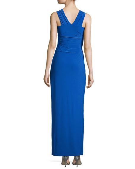 Crisscross-Neck Jersey Gown, Cobalt