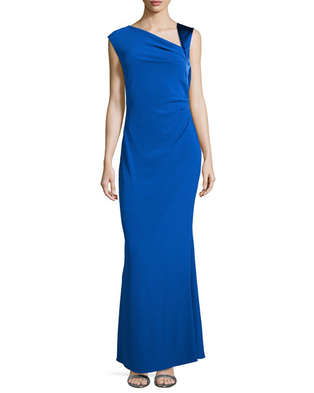 Halston Heritage Asymmetric Neck Ruched Gown