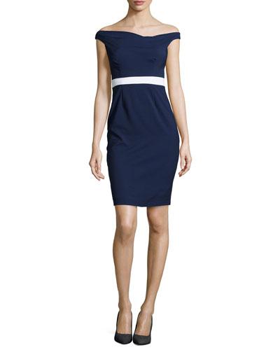 Brooke Off-the-Shoulder Combo Sheath Dress