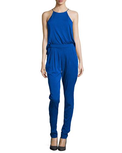 Locus Jersey Halter Jumpsuit, Cobalt